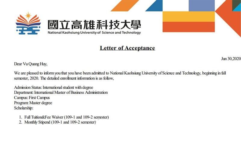 Học bổng du học Đài Loan từ các trường