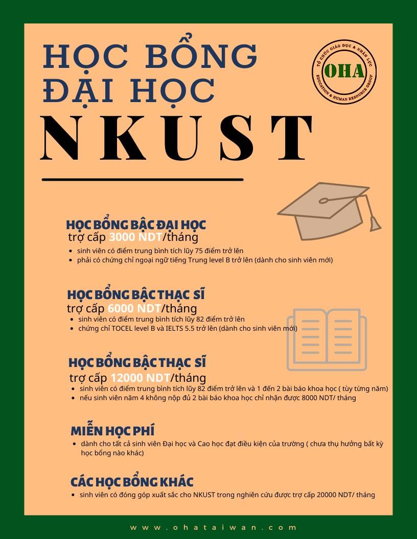 Các loại học bổng dành cho sinh viên tại NKUST